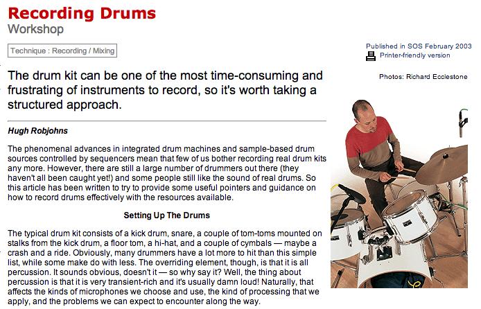 SOS: Recording Drums Workshop