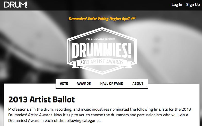 Vote now for 2013 Drummies! Artist Awards