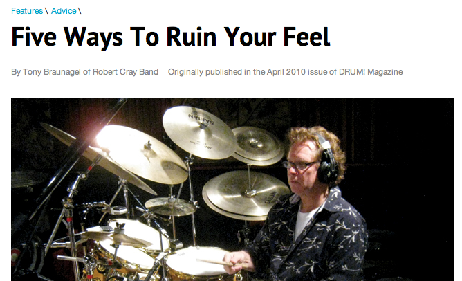 DRUM! Magazine: Five Ways To Ruin Your Feel