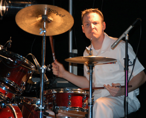 Prestigious Navy Band Commodores Big Band Holding Drumset Auditions