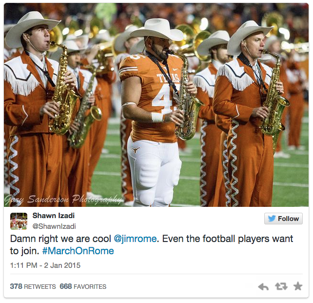Texas football player/band member's open letter to Jim Rome