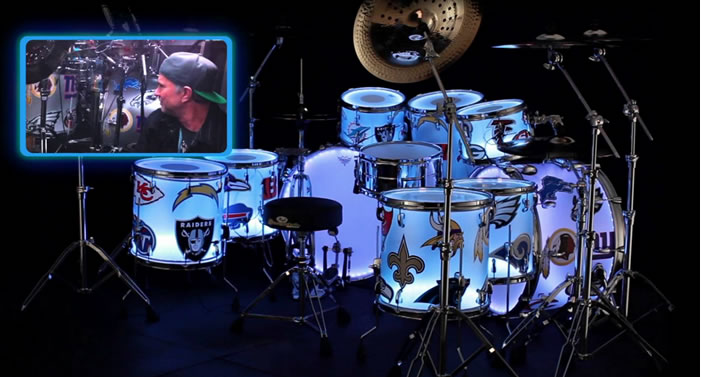 Chad Smith's is still the coolest Super Bowl drum kit of all time! #monsterkitmonday