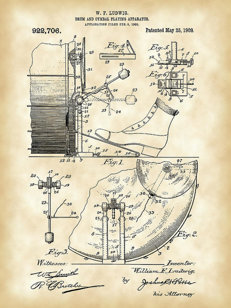 Original 1909 WFL Bass Drum Pedal Patent #throwbackthursday