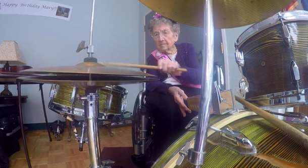 Woman, 99, Celebrates Birthday by Rocking Out on Drums