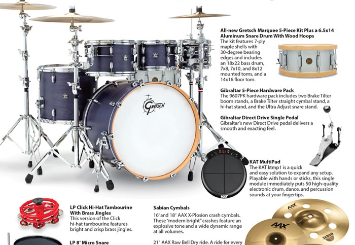 Win gear from Gretsch, Sabian, LP, KAT and more from Modern Drummer