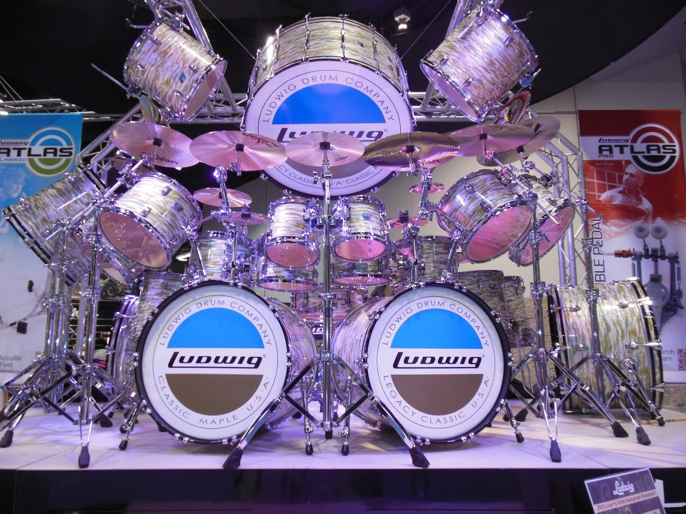 Ludwig blue and olive behemoth from NAMM 2015 #monsterkitmonday